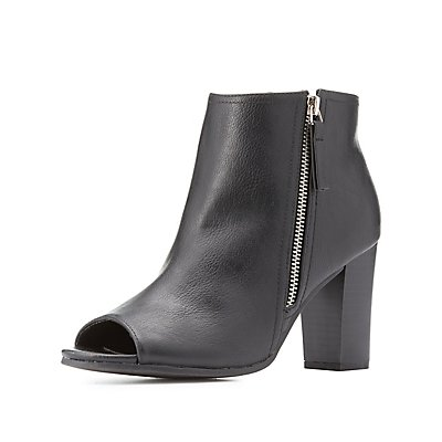 Faux Leather Peep Toe Ankle Booties