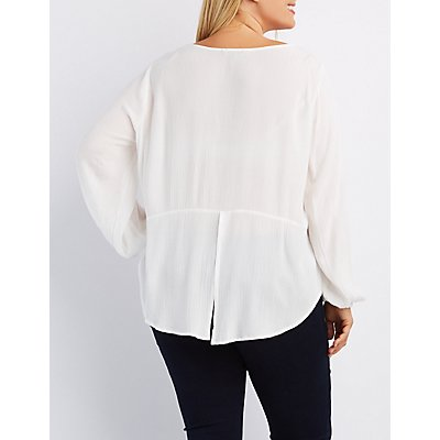 Plus Size Lace-Trim Split Back Top