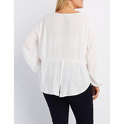 Plus Size Lace-Trim Split Back Top