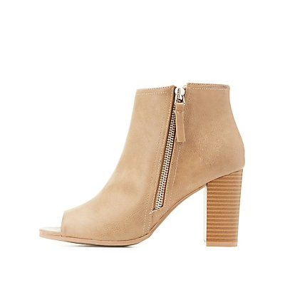 Side-Zip Peep Toe Booties