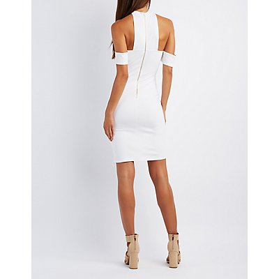 Mock Neck Cold Shoulder Bodycon Dress