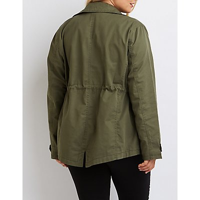Plus Size Faux Leather-Trim Anorak Jacket