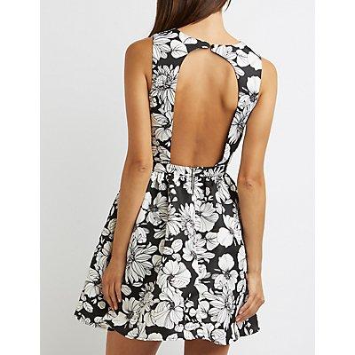 Floral Open Back Skater Dress