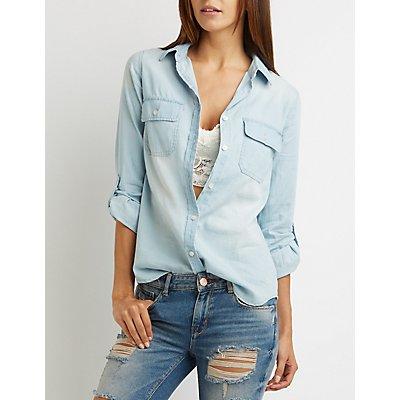 Chambray Button-Up Pocket Shirt