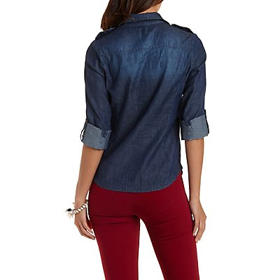 Dark Wash Button-Up Chambray Top