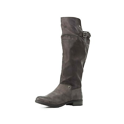 Qupid Distressed Knee-High Boots