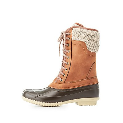 Knit, Faux Suede & Rubber Rain Boots