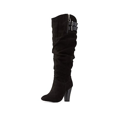 Qupid Slouchy Faux Suede Boots