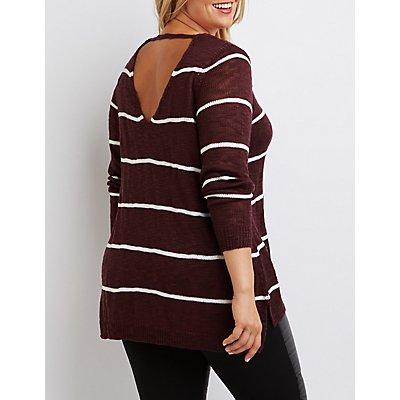 Plus Size Striped Open Back Sweater