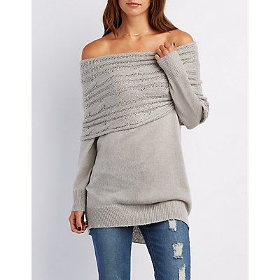 Cowl Neck Off-The-Shoulder Sweater