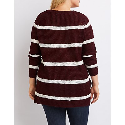 Plus Size Striped Scoop Neck Sweater