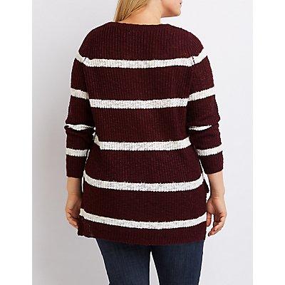 Plus Size Striped Scoop Neck Sweater