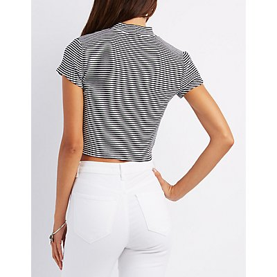 Striped & Ribbed Wrap-Front Crop Top