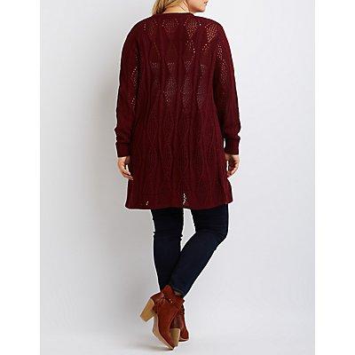 Plus Size Pointelle Longline Cardigan