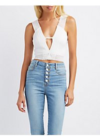 Embroidered-Trim Crop Top
