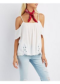 Embroidered Crochet Cold Shoulder Top