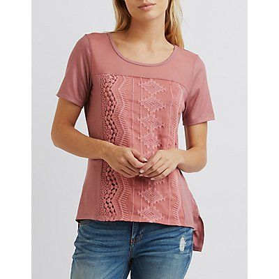 Mesh Yoke Embroidered Top