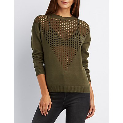 Open Knit Front Sweater
