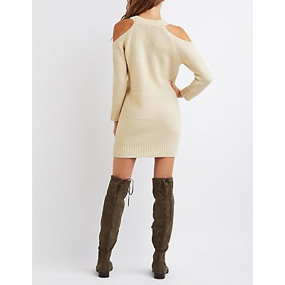 Shaker Stitch Cold Shoulder Sweater Dress