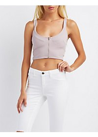 Zip-Front Crop Top