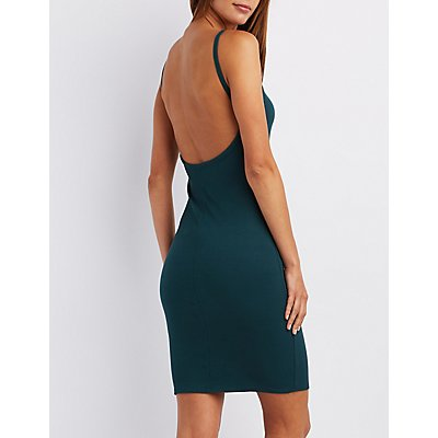 Ribbed Backless Bib Neck Bodycon Dress