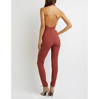 Mock Neck Halter Jumpsuit