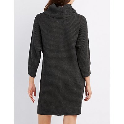 Cowl Neck Dolman Sweater Dress