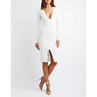 Plunging Bodycon Slit Dress