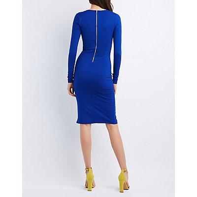 Front Slit Bodycon Dress