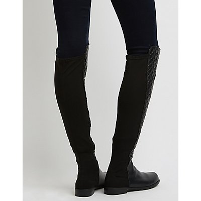 Bamboo Quilted Over-The-Knee Boots
