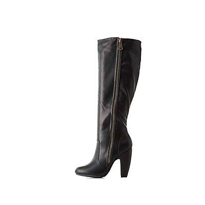 Bamboo Chunky Zipper Knee-High Boots