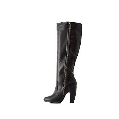 Bamboo Chunky Zipper Knee-High Boots