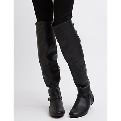 Bamboo Over-The-Knee Buckled Riding Boots