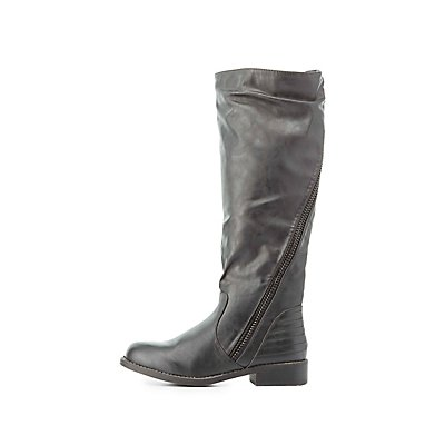 Bamboo Asymmetrical-Zip Riding Boots