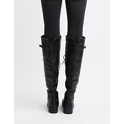 Over-The-Knee Combat Boots | Charlotte Russe