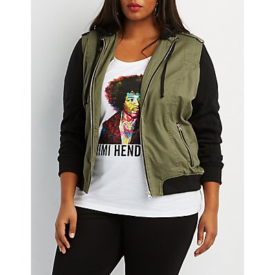 Plus Size Fleece-Trim Hooded Bomber Jacket