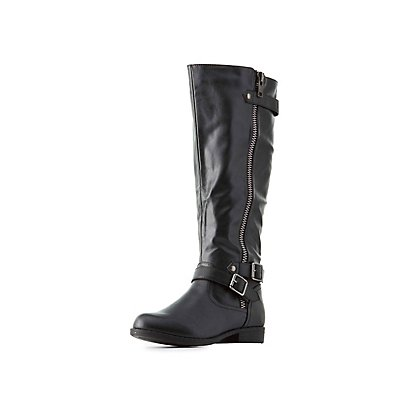 Bamboo Knee-High Moto Boots