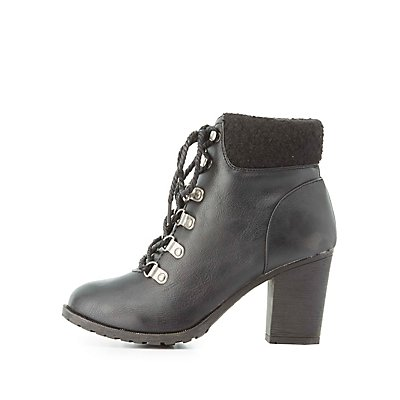 Fleece-Trim Ankle Booties