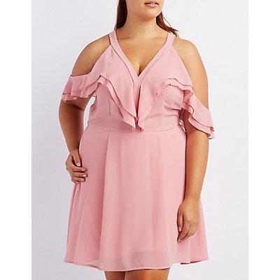 Plus Size Ruffle Cold Shoulder Dress