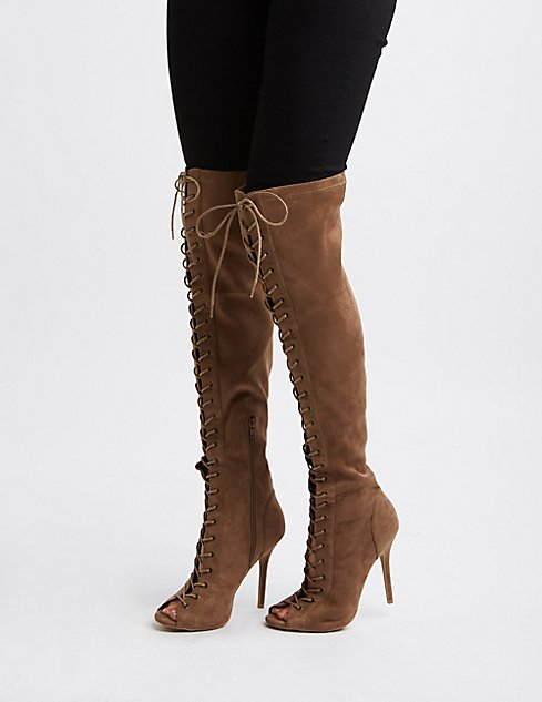 Lace-Up Over-The-Knee Boots | Charlotte Russe
