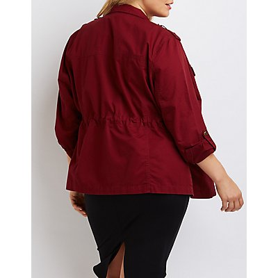 Plus Size Cargo Anorak Jacket