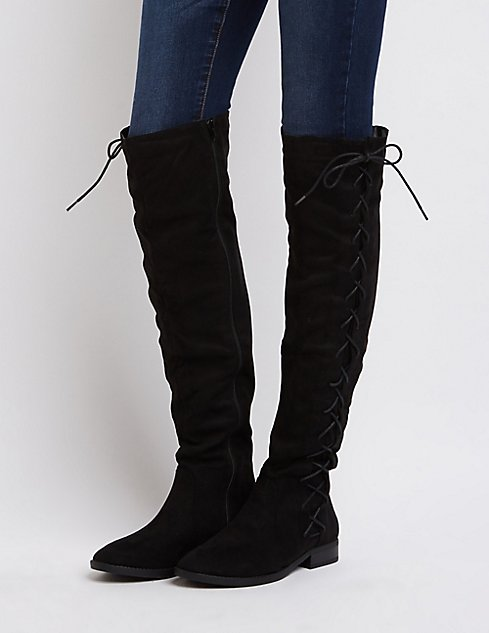 Lace-Up Side Over-The-Knee Boots | Charlotte Russe