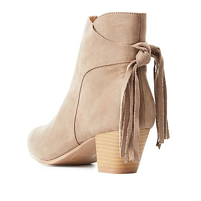 Qupid Fringed-Tie Pointed Toe Booties