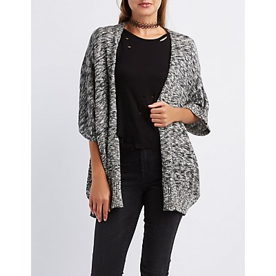 Marled Open Front Dolman Cardigan