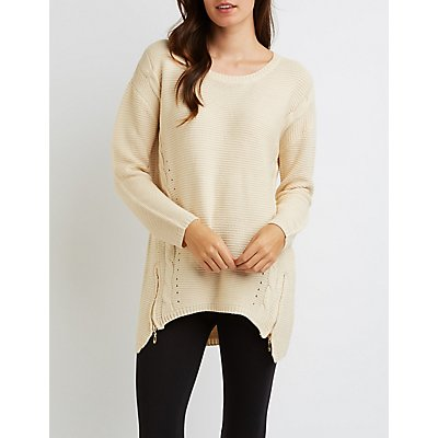 Shaker Stitch Zipper-Trim Sweater