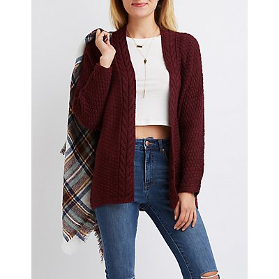 Cable Knit Collar Open Cardigan
