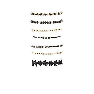 Mixed Beaded Bracelets - 7 Pack