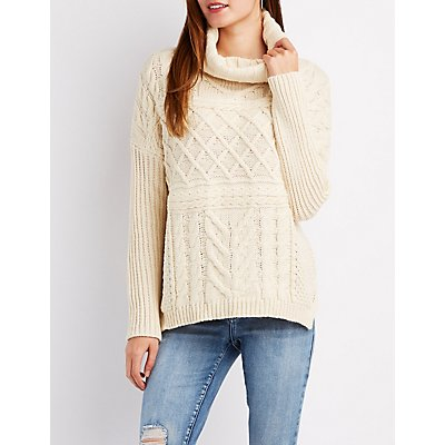 Turtleneck Mixed Knit Sweater