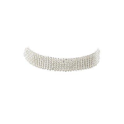 Beaded Rhinestone Choker Necklace