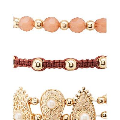 Mixed Rhinestone & Beaded Bracelets - 6 Pack